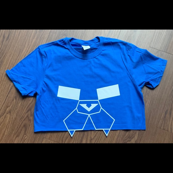 Hand crafted voltron face hand cut crop top
